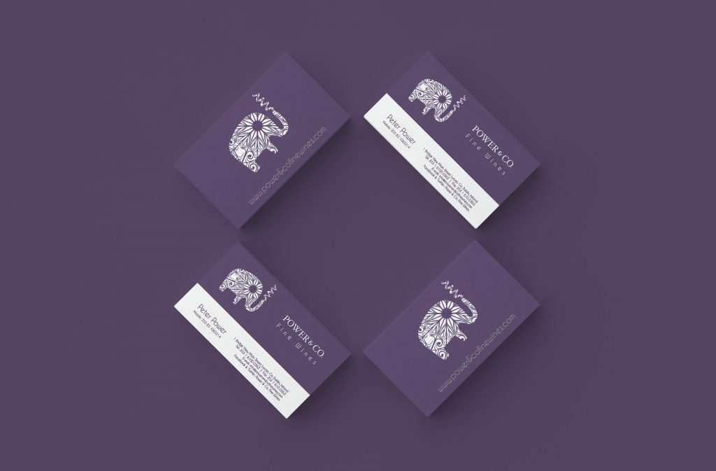 Power & Co Fine WInes Business Cards